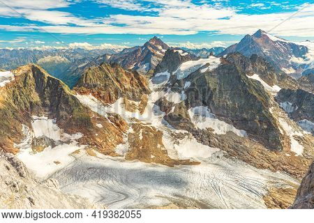 Mount Titlis In The Swiss Alps Panorama View In The Snow. Switzerland, Cantons Of Obwalden And Bern.