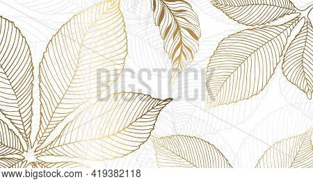 Gold Leaves For The Walls. Background With Golden Leaves Of Chestnut On A White Background. Vector G