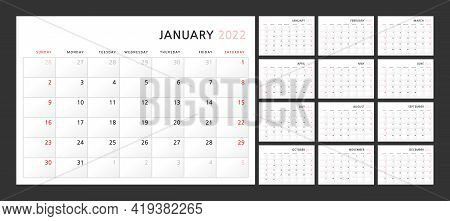 Wall Quarterly Calendar Template For 2022 In A Classic Minimalist Style. Week Starts On Sunday. Set