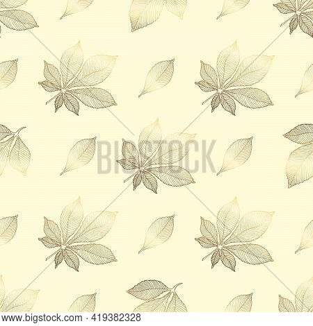 Gold Flowers Pattern. Seamless Pattern With Golden Chestnut Leaves On A Beige Background. Vector Gra