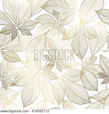 Gold Flowers Pattern. Seamless Pattern With Golden Chestnut Leaves. Vector Graphics.