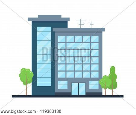 Modern City Building Exterior. Office Center Or Business House.