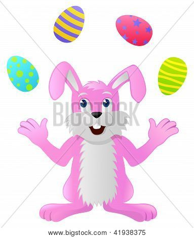 Easter Rabbit juggling four colored Easter Eggs poster
