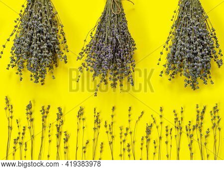 Greeting Card With Bouquet Of Dry Purple Fragrant Lavender On  Yellow  Paper Background. Flat Lay, T