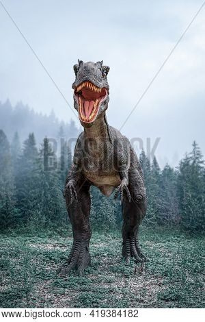 Dinosaur In The Jungle. A Huge Dinosaur Against The Background Of A Prehistoric Forest.