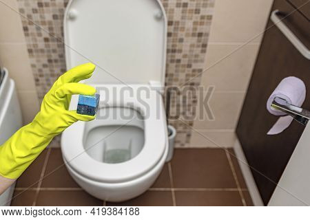 Toilet Cubes Cleaner In Hand. A Hand Lowers A Disinfectant Cube Into The Water Of A Toilet Bowl Buil