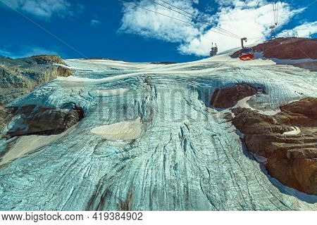 Titlis, Engelberg, Switzerland - Aug 27, 2020: Titlis Glacier Of Icy Peak With Cable Car With Swiss