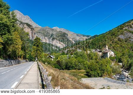 Landscape View Of Col De La Cayolle Pass And Surrounding Mountains In Alpes-maritimes In France