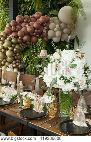 Decoration Of Party; Centerpiece Made With Beautiful Flowers.