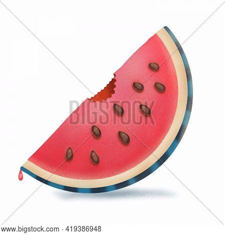 Watermelon Textured Illustration In Trendy Digital Style. Logo Of Watermelon Bitten Off Slice Isolat