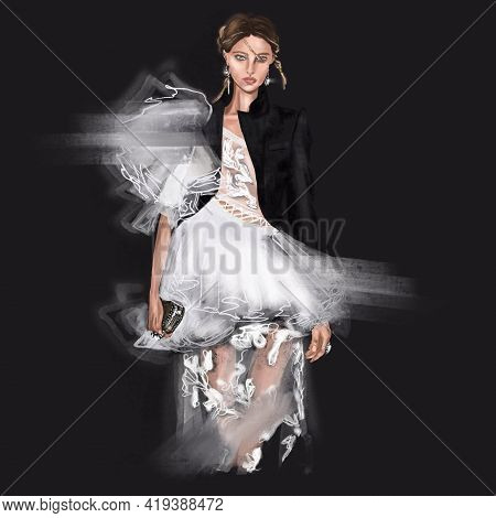 Hand-drawn Fashion Illustration Sketch Of Runway Catwalk Imaginary Glamour Model In A White Fluffy D
