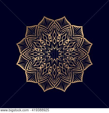 Golden Floral Luxury Round Gradient Mandala Isolated Background. Vector Abstract Mandala With Floral