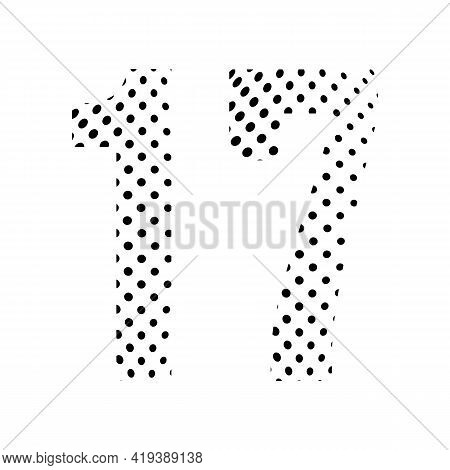 Number Seventeen, 17 In Halftone. Dotted Illustration Isolated On A White Background. Vector Illustr