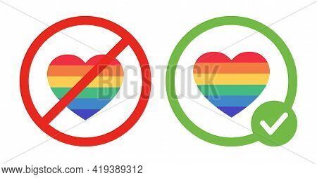Lgbt Is Prohibited And Gay Love Is Allowed Vector Flat Illustrations. Rainbow Colorful Hearts In Cro