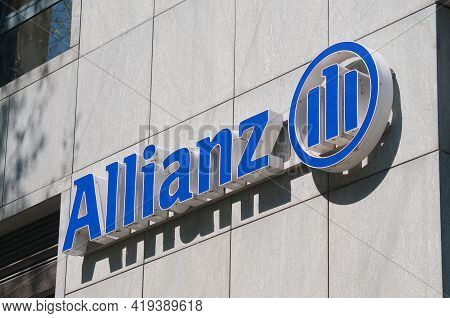 Lugano, Switzerland - 30th March 2021 : Allianz Company Sign Hanging On Building In Lugano. Allianz