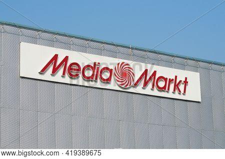 Grancia, Ticino, Switzerland - 26th March 2021 : Mediamarkt Sign Hanging On The Grancia Sud Shopping
