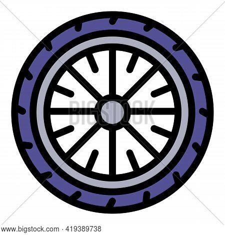 Bike Wheel Tire Icon. Outline Bike Wheel Tire Vector Icon For Web Design Isolated On White Backgroun