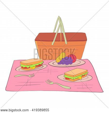 Break Picnic Basket Icon. Cartoon And Flat Of Break Picnic Basket Vector Icon For Web Design Isolate