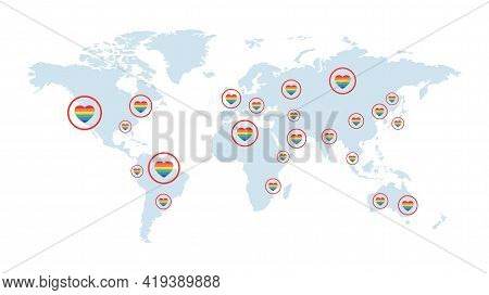 World Map Covered By Rainbow Hearts Vector Flat Illustration. Colorful Continents And Countries. Lgb