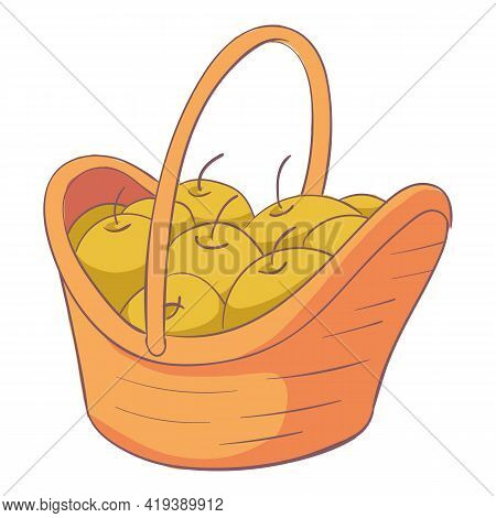 Wooden Apple Basket Icon. Cartoon And Flat Of Wooden Apple Basket Vector Icon For Web Design Isolate