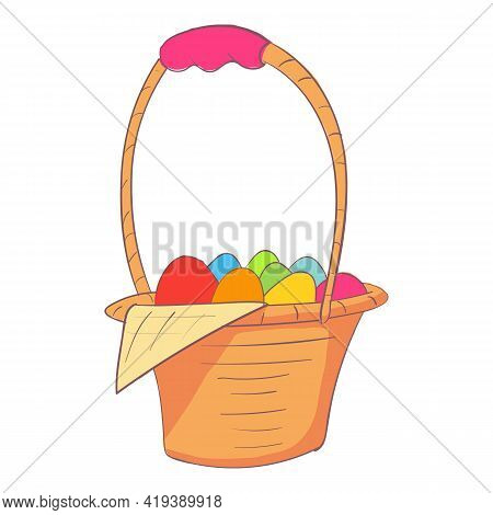 Easter Basket Icon. Cartoon And Flat Of Easter Basket Vector Icon For Web Design Isolated On White B