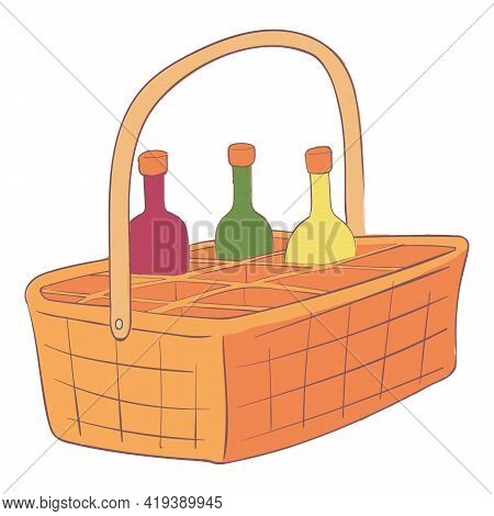 Wicker Drink Basket Icon. Cartoon And Flat Of Wicker Drink Basket Vector Icon For Web Design Isolate