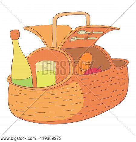 Picnic Hamper Icon. Cartoon And Flat Of Picnic Hamper Vector Icon For Web Design Isolated On White B