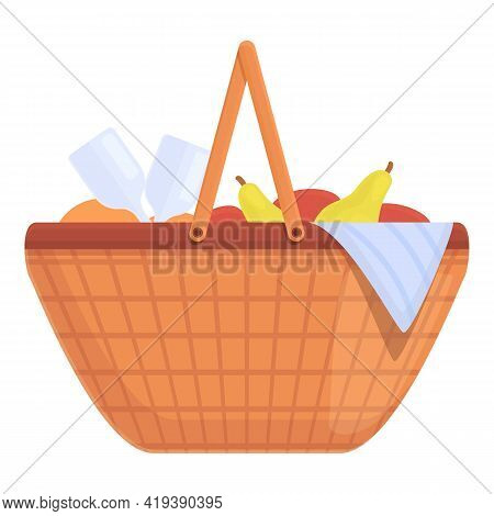 Snacks Basket Icon. Cartoon And Flat Of Snacks Basket Vector Icon For Web Design Isolated On White B