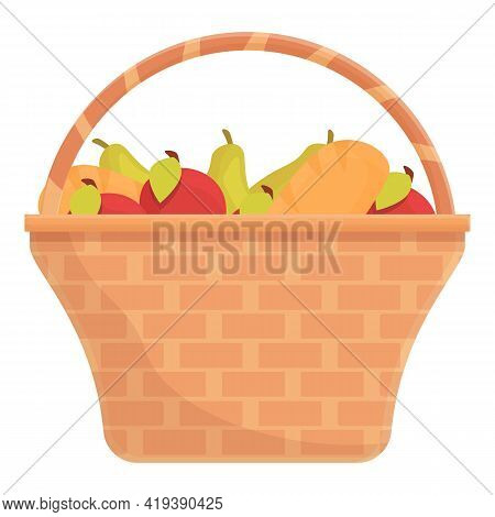Fruits Basket Icon. Cartoon And Flat Of Fruits Basket Vector Icon For Web Design Isolated On White B