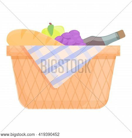 Spring Picnic Basket Icon. Cartoon And Flat Of Spring Picnic Basket Vector Icon For Web Design Isola