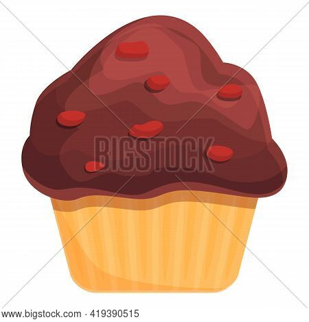 Chocolate Muffin Icon. Cartoon And Flat Of Chocolate Muffin Vector Icon For Web Design Isolated On W