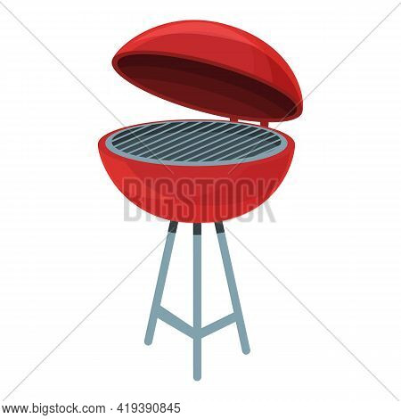 Barbecue Grill Icon. Cartoon And Flat Of Barbecue Grill Vector Icon For Web Design Isolated On White
