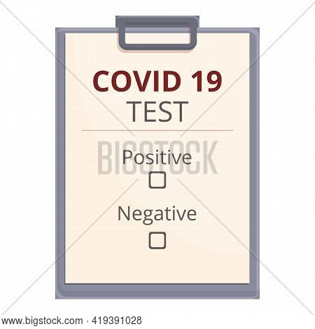 Test Covid Result Icon. Cartoon And Flat Of Test Covid Result Vector Icon For Web Design Isolated On