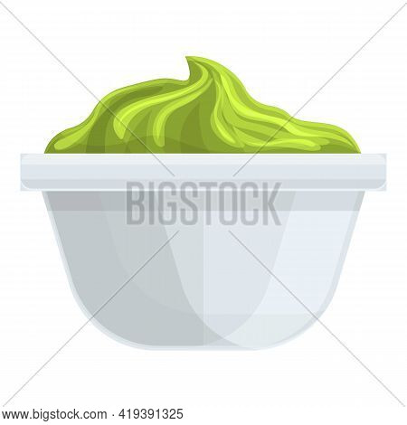 Wasabi Bowl Icon. Cartoon And Flat Of Wasabi Bowl Vector Icon For Web Design Isolated On White Backg