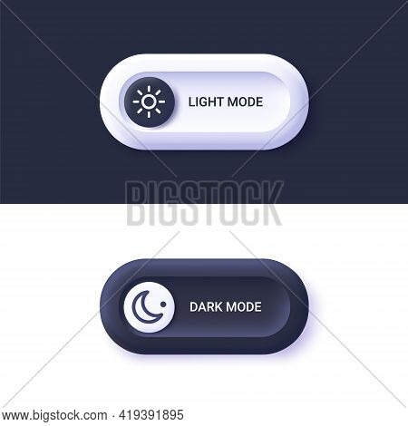 Day Night Switch - Dark Mode, Light Mode Switch Button. Mobile App Interface Design Concept. 3d Vect