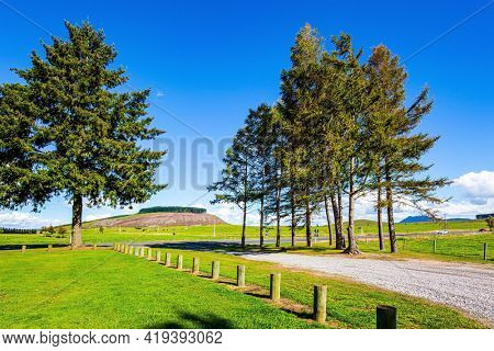 New Zealand, North Island. Shores of Lake Taupo well-groomed green grass lawns and dirt paths. Travel to the ends of the Earth.