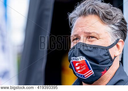 May 02, 2021 - Ft. Worth, Texas, USA: IndyCar Team Michael Andretti watches as his teams prepare to race for the EXPEL 375 at Texas Motor Speedway in Ft. Worth, Texas.