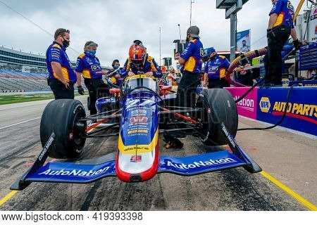 May 01, 2021 - Ft. Worth, Texas, USA: ALEXANDER ROSSI (27) of the United States prepares to practice for the Genesys 300 at the Texas Motor Speedway in Ft. Worth, Texas.