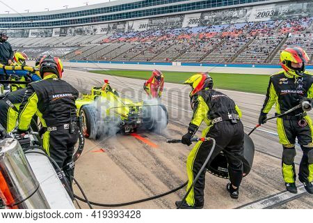May 01, 2021 - Ft. Worth, Texas, USA: SIMON PAGENAUD (22) of Montmorillon, France brings his car in for service during the Genesys 300 at Texas Motor Speedway in Ft. Worth Texas.