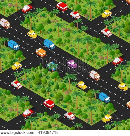 Highway Carspark Isometric Forestry Landscape Green View Projection