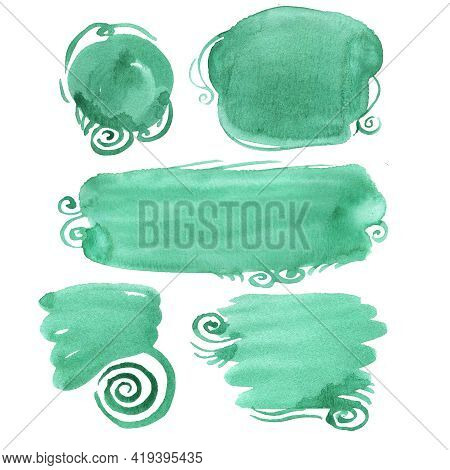 Abstract Blue Spot Watercolor On White Background. Turquoise Splash In The Paper. Green Spots Freeha