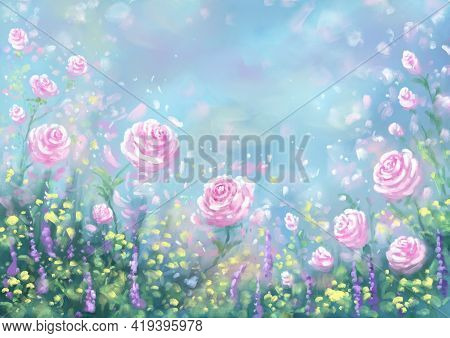 Romantic Cute Amorous Light Charming Elegant Art Background With Roses Hand-drawn. Art Drawing With