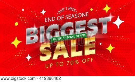 Banner Template With Biggest Super Sale Special Offer. Discount Up To 70 Percent Price Off To End Of