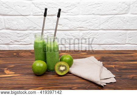Colourful Healthy Green Smoothies. Healthy Smoothie With Spinach. Glasses With Green Organic Smoothi
