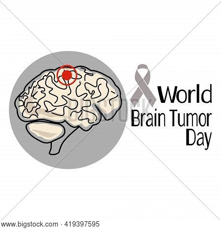 World Brain Tumor Day, Schematic Representation Of The Human Brain With The Affected Area, Concept F