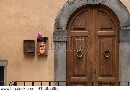 Beautiful Front Door. A Very Old Door To One Of The Thousand-year-old Houses In Barga. Door With Bra