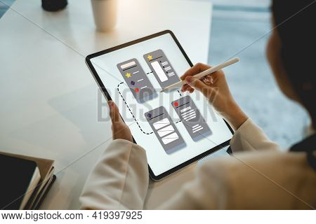 Closeup Of Female Ux Developer And Ui Designer About Mobile Phone App Interface In Living Room At Ho