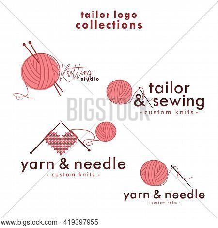 Knitting And Crochet Logo Set, Needle And Yarn Logo, Simple Knitting Collections Logo Vector Design