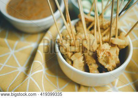 Grilled Pork Satay In Thai Called Moo-sa-tay