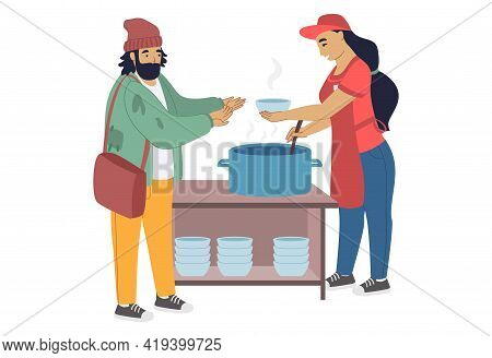 Volunteer Feeding Homeless Person, Flat Vector Illustration. Care For Homeless, Volunteering And Cha